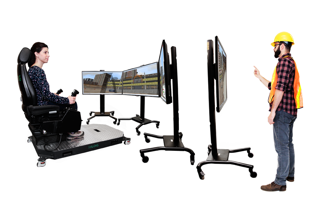 Mobile Crane Personal Simulator - Operator Chair - 4 Displays with Signal Person