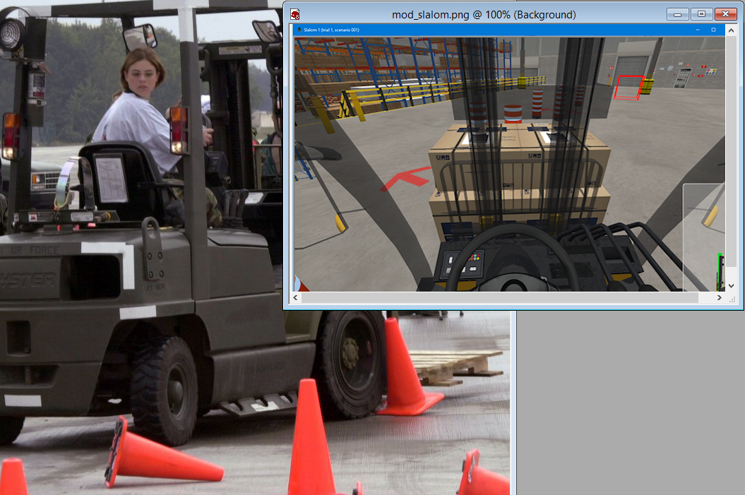 Real and Simulated Forklift Slalom Course